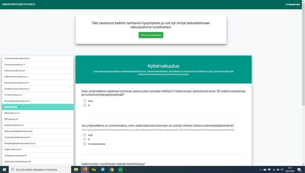 Vakuution riskikartoitustyökalu avattuna kybervakuutuksen kohdalla